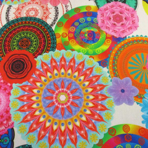 Kurzstück Stoff Baumwolle Digitaldruck Mandala groß bunt 0,90m x 1,40m