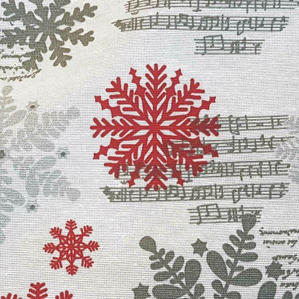 Stoff Meterware Weihnachtsstoff weiß rot silber Eiskristall Winter