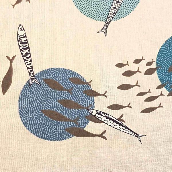 Stoff Meterware Baumwolle Fische Kreise blau ecru japanisch 0,5