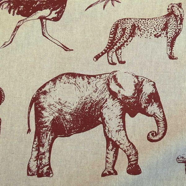 Stoff Meterware Baumwolle pflegeleicht natur bordeaux Elefant Zebra Gepard Bär 0,5