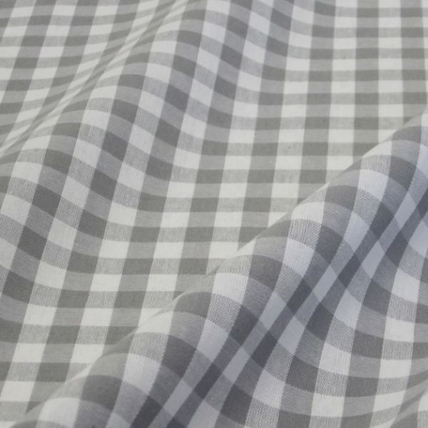 Stoff Baumwolle Bauernkaro grau kariert weiß Karo Meterware