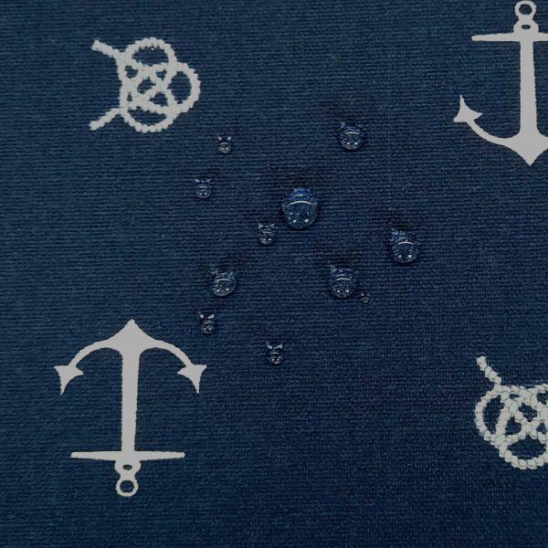 Stoff Meterware beschichtet dunkelblau Anker Wachstuch Tischdecke 0,5