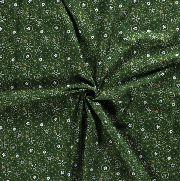 Stoff Meterware Baumwolle dunkellgrün gold Schneeflocken Eiskristalle 0,5 Weihnachtsstoff