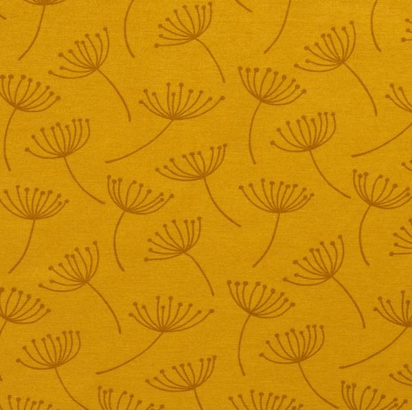 Stoff Baumwolle Meterwar messing gelb Pusteblumen stabil 0,5