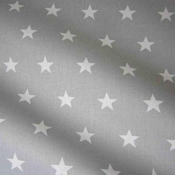 Stoff Baumwolle Sterne Stars grau hellgrau weiß groß 2,2cm