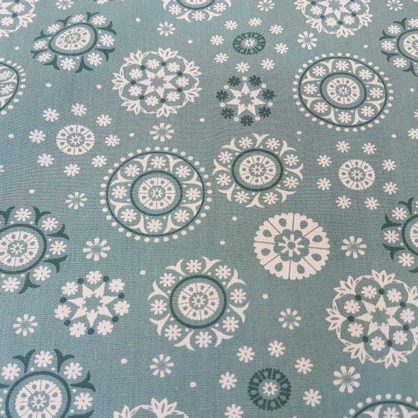 Stoff Meterware Baumwollstoff Mandala mint türkis weiß Eiskristall Dekostoff