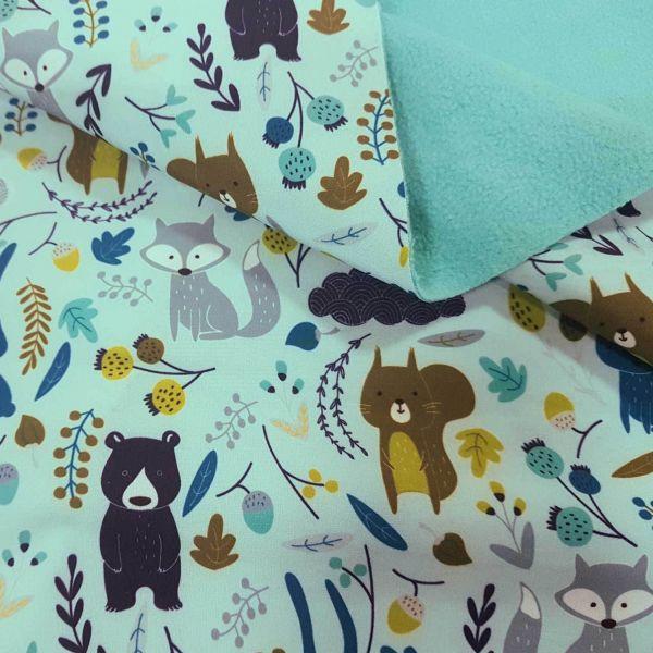 Stoff Meterware Softshell mint Tiere Fuchs Bär Hase Wald wasserabweisend Outdoor