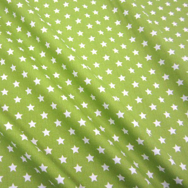 Stoff Baumwollstoff Stern Sterne hellgrün grün weiß 9 mm neu