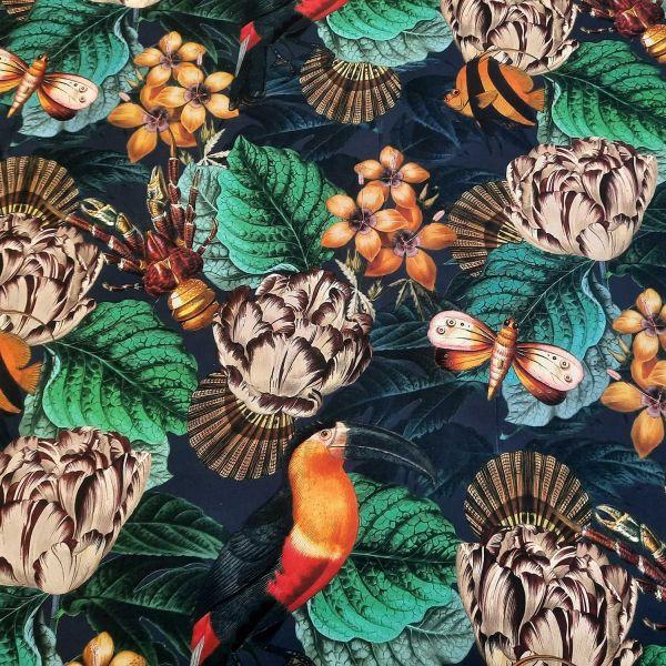Stoff Baumwolle Histoires naturelles Fische Vögel dunkelblau digital 0,5