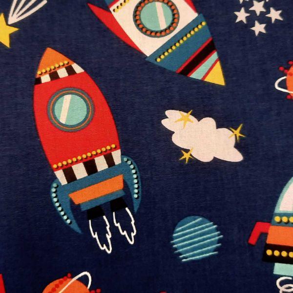 Stoff Baumwolle Meterware Weltraum Rakete Cosmic blau bunt Kinderstoff 0,5