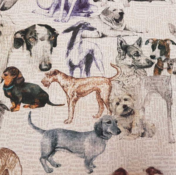 Stoff Meterware Baumwolle Fotodruck Hund Hunde Dackel Terrier Dekostoff