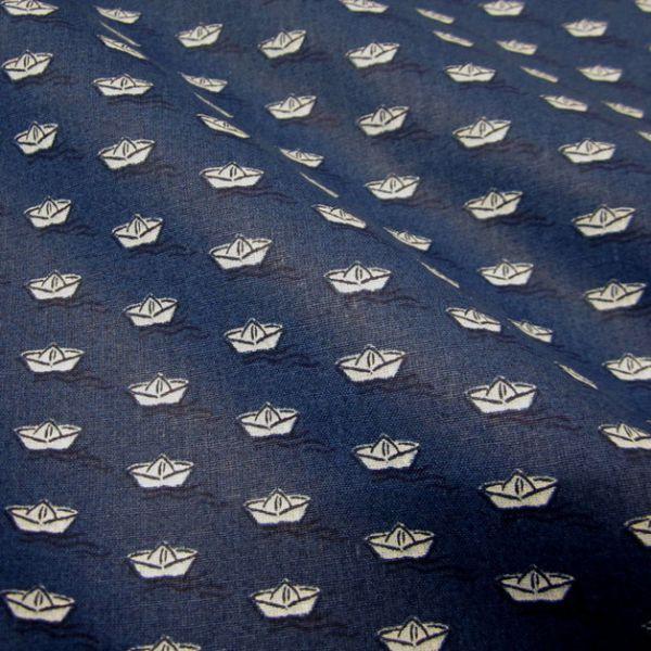 Stoff Baumwolle marine weiß Schiff Boot Meer Neu