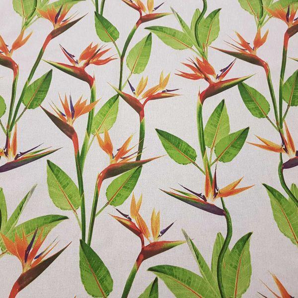Stoff Meterware Strelitzie Blume Blätter natur Dekostoff stabil