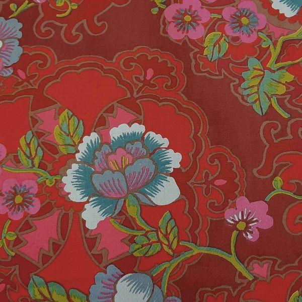 Stoff Baumwolle Chuang Lackrot Blumen Ornamente Asien 0,5
