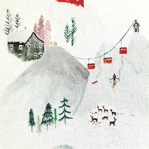 """Stoff Baumwolle """"Kattegat"""" Winterlandschaft weiss Dekostoff Digitaldruck 0,5"""