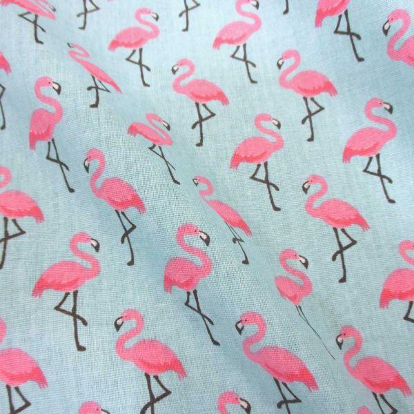 Stoff Baumwolle Flamingos hellblau pink Trend 2017