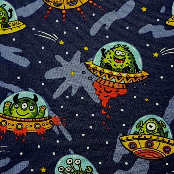 Stoff Meterware Jersey dunkelblau Ufo Aliens Marsmännchen Monster 0,5