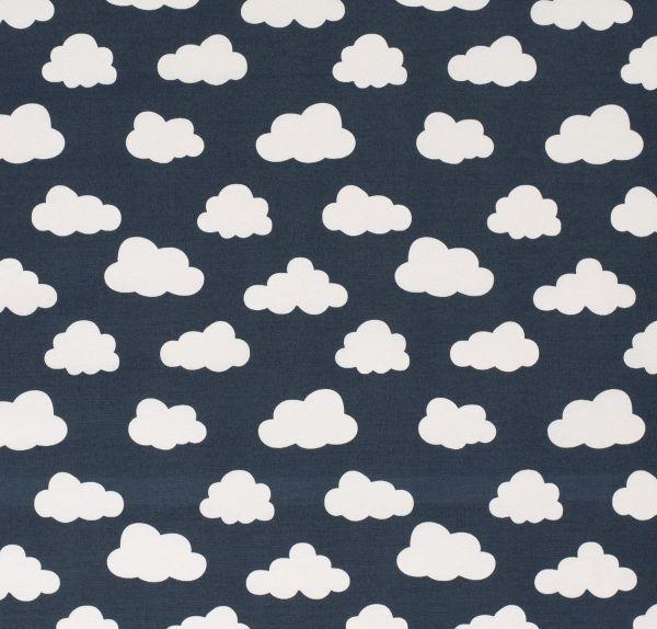 Stoff Baumwolle Meterware dunkelblau Wolken weiss stabil 0,5