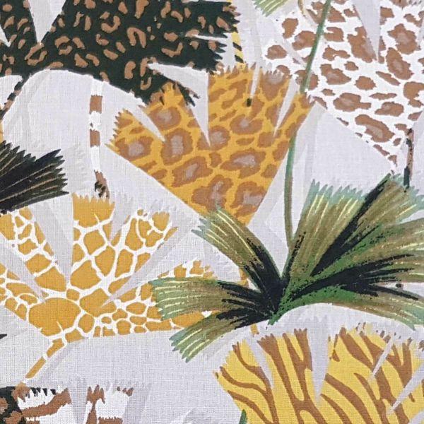 Kurzstück Stoff Baumwolle Meterware Safari Blätter animalprint beige safran grün 0,85m x 1,60m