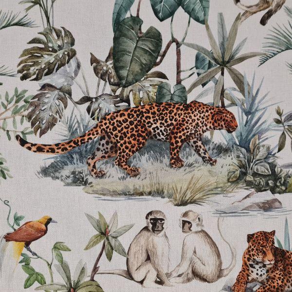 """Stoff Baumwolle """"Leopard"""" Affen Dschungel Leinenoptik 0,5"""