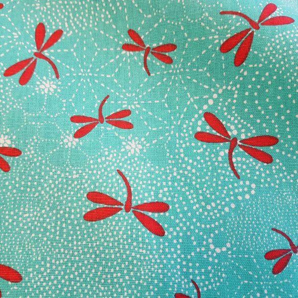Stoff Baumwolle Libellen türkis rot Dragonfly 0,5
