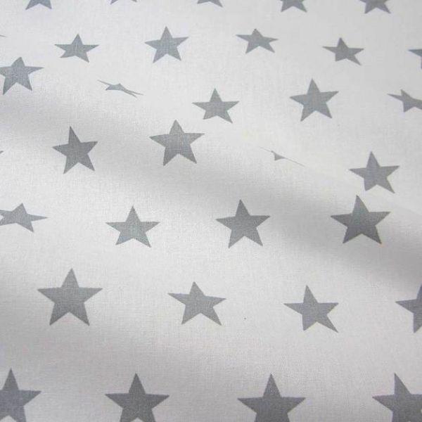 Stoff Baumwolle Sterne Stars weiß grau hellgrau groß 2,2cm