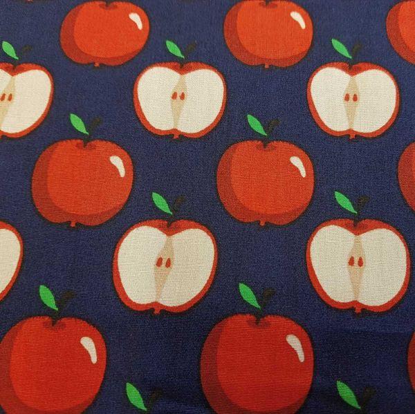 Stoff Baumwolle marine Apfel rot Nostalgie