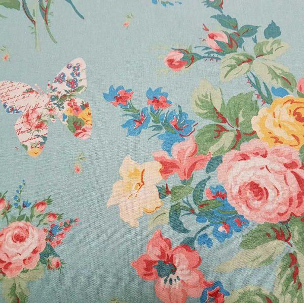 Stoff Baumwolle Blumenbouquet Patchwork türkis