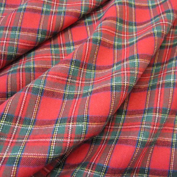 Stoff Meterware Schottenkaro rot grün Sommerflanell Baumwolle