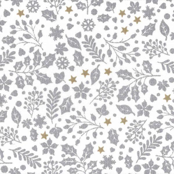 Stoff Meterware Baumwolle Baumwollstoff weiß silber gold Ilex Weihnachtsstoff