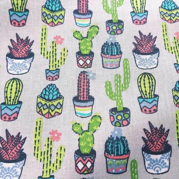 Stoff Meterware Baumwollstoff hellgrau Kaktus Kakteen grün