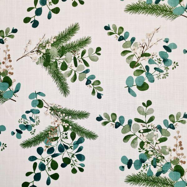 """Stoff Baumwolle """"Nordmann"""" Mistel Tanne Eukalyptus Leinenoptik 0,5 Weihnachtsstoff"""