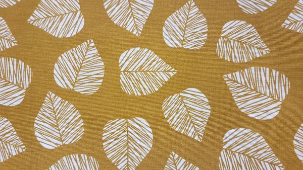 Stoff Baumwolle Blätter gelb maisgelb stabil Taschen Kissen Dekostoff