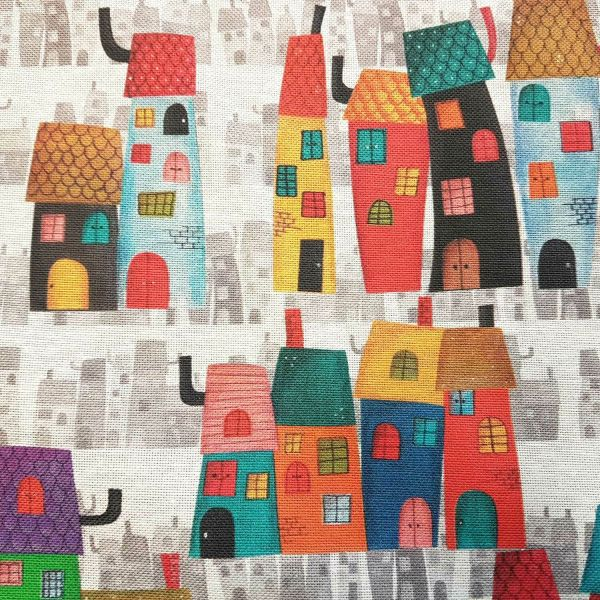Stoff Meterware Häuser bunt Stadt Casitas pflegeleicht Dekostoff 0,5