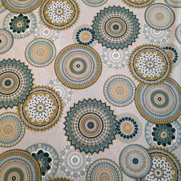 Stoff Meterware Baumwolle pflegeleicht Mandala mint safran petrol Kreise bunt Deko 0,5