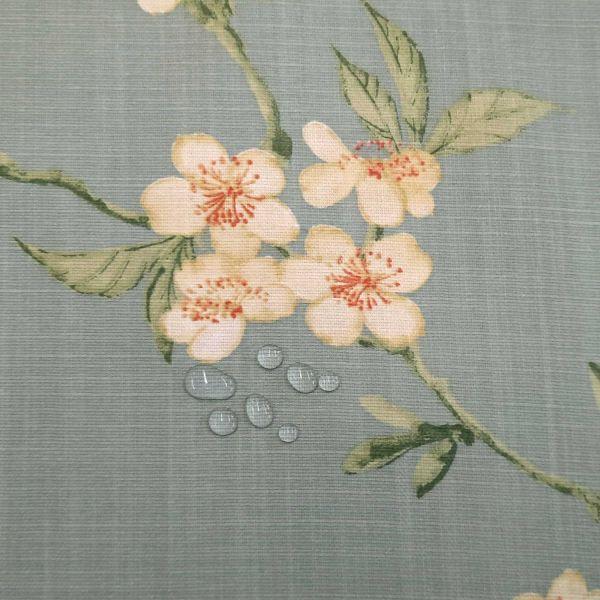 """Stoff Meterware Baumwolle beschichtet """"Saporro"""" Kirschblüten Wachstuch hellblau 0,5"""