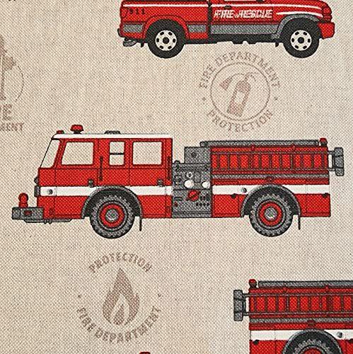 Stoff Baumwollstoff natur Feuerwehrauto rot 0,5