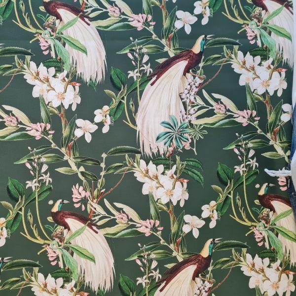 """Stoff Baumwolle Satin """"Paradiser"""" moosgrün Paradiesvögel Blumen Zweige 0,5"""