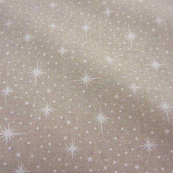 Stoff Meterware Baumwolle PES natur Sterne Flocken Abendstern Tupfen weiß