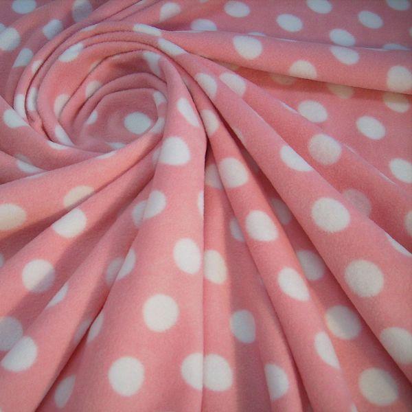 Stoff Meterware Polar Fleece rosa weiss Punkte weich warm kuschelig antipilling SONDERPREIS