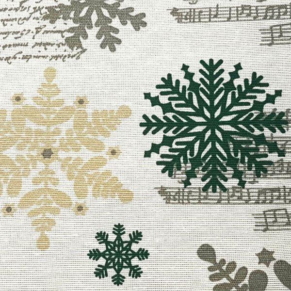 Stoff Meterware Weihnachtsstoff weiß grün gold Eiskristall Winter