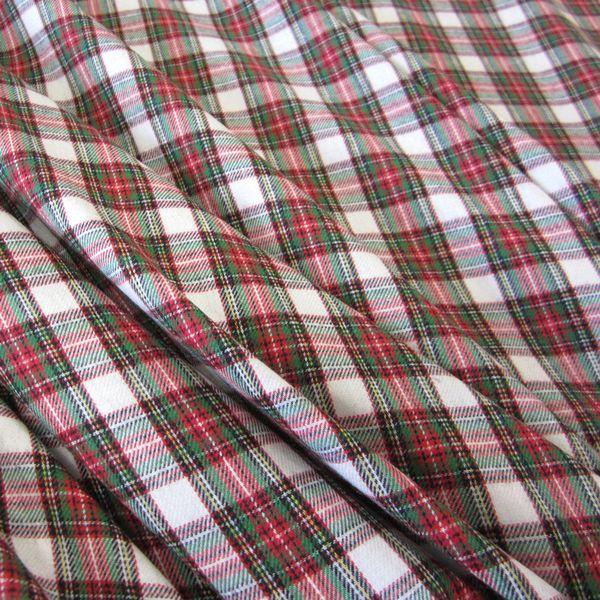 Stoff Meterware Schottenkaro weiß grün rot Flanell leicht
