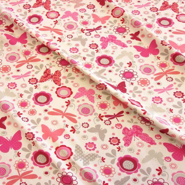 Stoff Baumwolle Jersey Schmetterling Libelle pink fuchsia rosa ecru 0,5