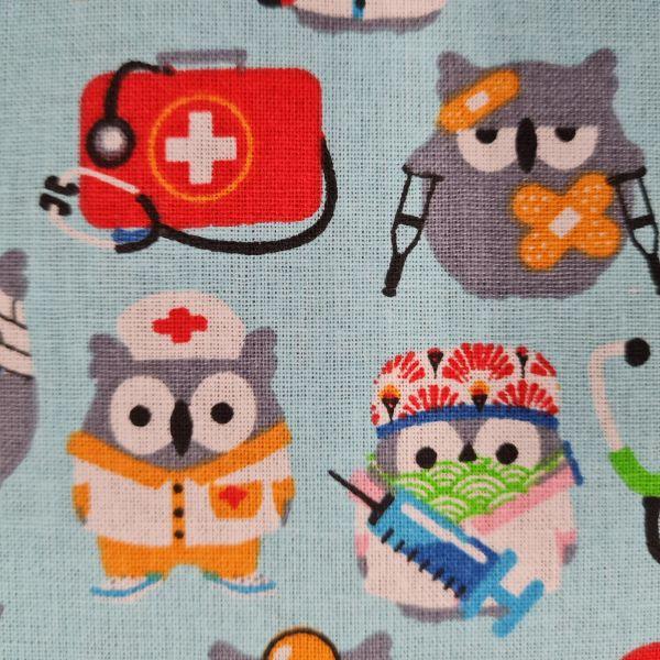 Stoff Baumwolle hellblau Eulen Arzt Krankenhaus 0,5