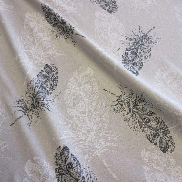 Stoff Meterware Baumwolle PES natur Federn grau weiß