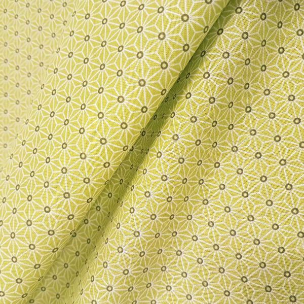 Stoff Baumwollstoff Japan Asanoha Grafik lime hellgrün weiß Kimono