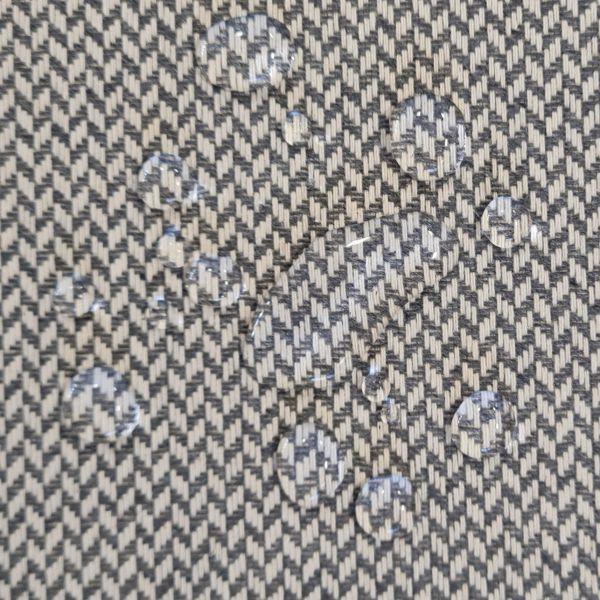 Stoff Meterware Baumwolle beschichtet Aniston Wachstuch anthrazit natur Fischgrat Tischdecke 0,5