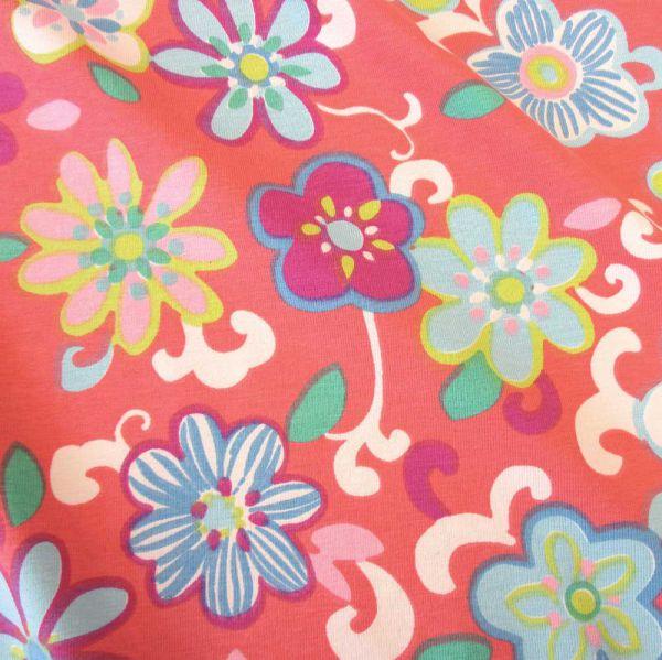 Stoff Meterware Baumwolle Jersey koralle rot Blumen bunt Flower Power Neu