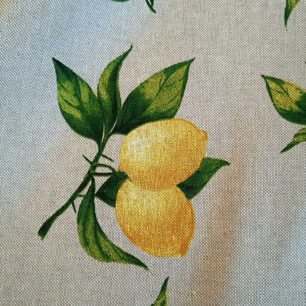Stoff Baumwollstoff natur Zitronen gelb 0,5
