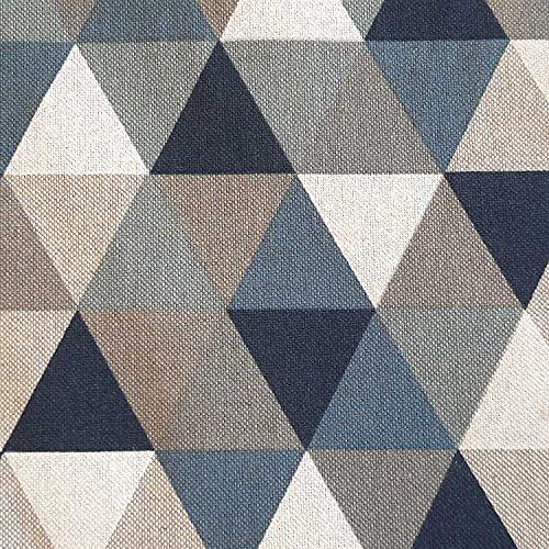 Stoff Meterware Baumwolle pflegeleicht Dreiecke blau grau jeansblau natur Deko 0,5